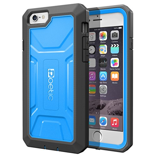 iPhone 6 Plus / iPhone 6S Plus Case - Poetic iPhone 6 Plus / iPhone 6S Plus Case [Revolution Series] - [Heavy Duty] [Dual Layer] Complete Protection Hybrid Case with Built-In Screen Protector for Apple iPhone 6 Plus (2014)/iPhone 6S Plus (2015) Blue/Black (3 Year Manufacturer Warranty From Poetic)