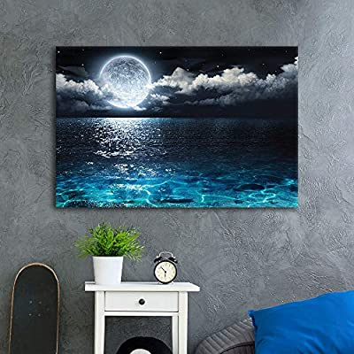 Majestic Visual, Blue Ocean Under Moonlight Calmful Heart Painting Artwork for Home Framed, With Expert Quality