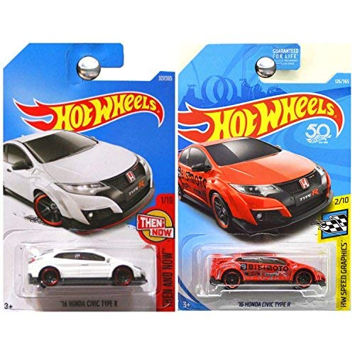 Hot Wheels 2017 and 2018 Then Now Speed Graphics 2016 Honda Civic Type R Bisimoto White Red SET OF - Graphic Honda Replica