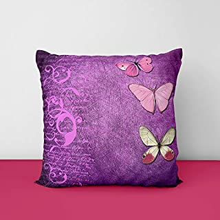 51%2Bwincto8L. SS320 Butterfly Purple Square Design Printed Cushion Cover