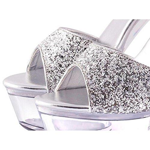 LLP Femmes Sandales Talons Hauts Plate-Forme Imperméable Fond épais Modèle Chaussures Boucle de Ceinture Chaussures Transparentes Chaussures en Cristal Silver CeidYu6