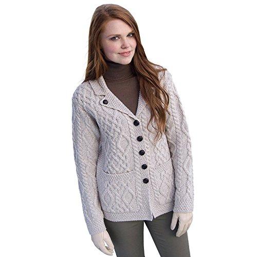 (100% Irish Merino Wool Revere Button Collar Sweater, Parsnip, XL)