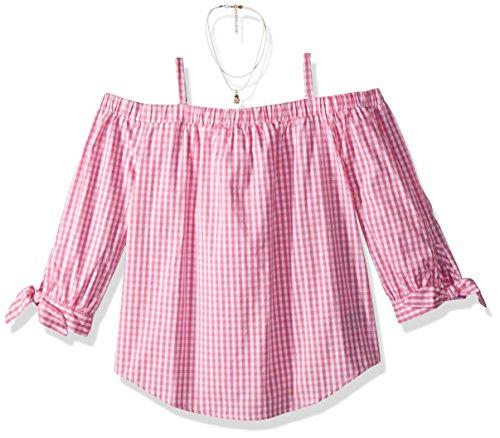Amy Byer Big Girls' Spaghetti Strap Off Shoulder, Pink, M (Strap Shirt Girls Spaghetti)