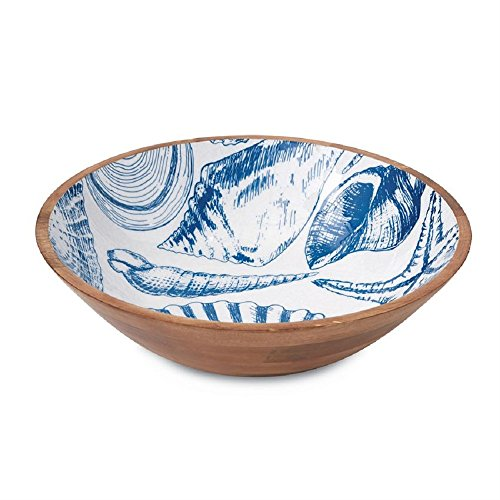 Mud Pie Blue Shell Wood and Enamel Serving Bowl