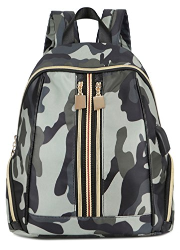 Fashion nylon camouflage waterproof knapsack female Laptop Bag Girl handbag USB charging interface headphone interface school bag (Grey - Purse Bank Mini