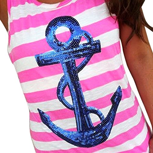 OURS Sleeveless Sequins Striped Racerback