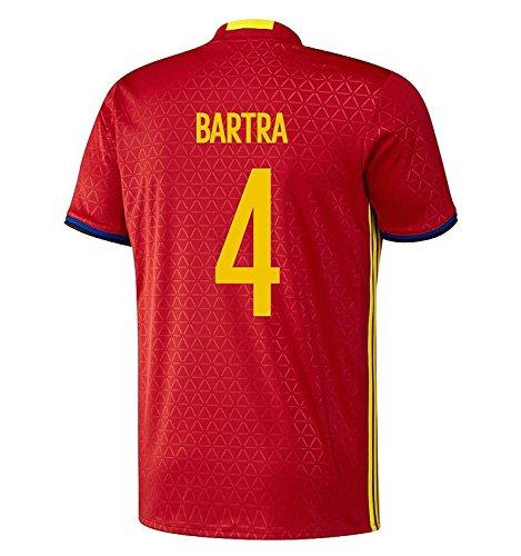 戦闘救援空いているadidas Bartra #4 Spain Home Jersey UEFA EURO 2016 (Authentic name & number) /サッカーユニフォーム スペイン ホーム用 バルトラ