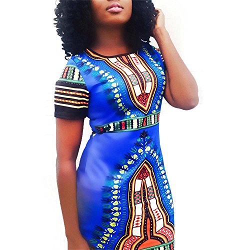 Womens Traditional African Print Dashiki Stretch Bodycon Dress 2XL Blue