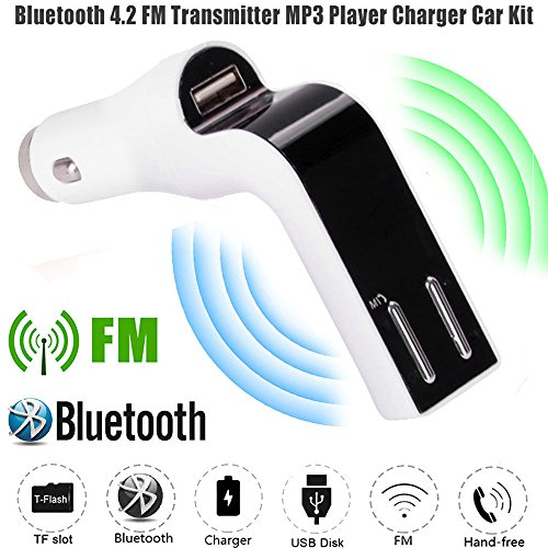 Aobiny Car FM Transmitter Bluetooth Hands-free LCD MP3 Player Radio Adapter Kit Charger (White) (Samsung Radio Lcd)