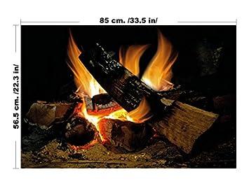 Lepnime Vintage Fake Burning Logs Decorative Fire Wall Art