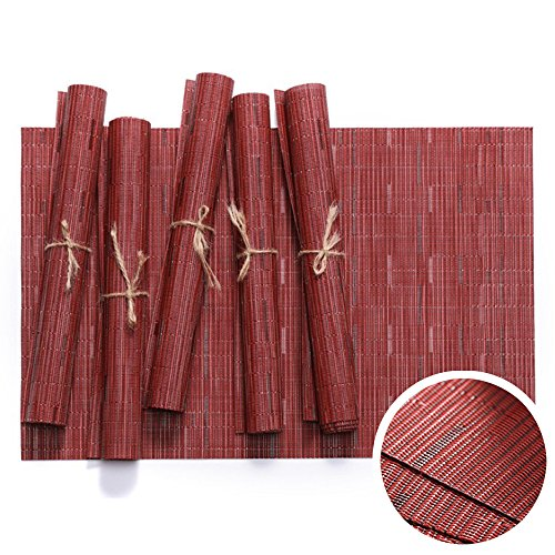 - WOMHOPE Set of 6 pcs - Bamboo Striped Jacquard PVC Woven Vinyl Place Mats Table Placemats Heat-resistant Table Mats Outdoor/Indoor (Red (Set of 6 pcs))