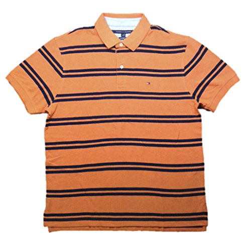 Tommy Hilfiger Mens Classic Fit Striped Cotton Polo Shirt Large Orange Navy Classic Fit Striped Rugby