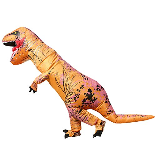2 Person Costume Ideas Halloween (T-REX Dinosaur Inflatable Costume, Unisex Adults and Teens Fancy Cosplay Costume Suit, Brown)