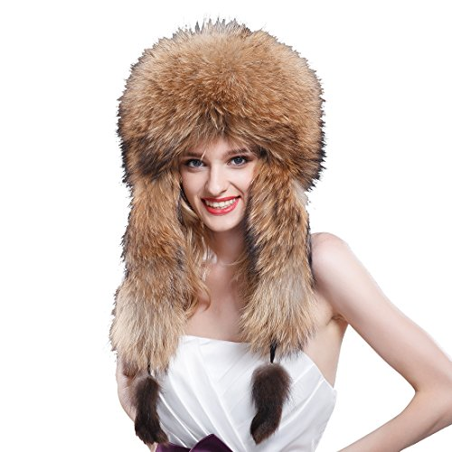 URSFUR Women's Raccoon Full Fur Russian Ushanka Trapper Hats Natural Color