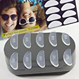 GMS Optical® 1.8mm Anti-slip Adhesive Contoured Soft Silicone Eyeglass Nose Pads with Super Sticky Backing - 5 Pair (Clear)