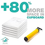 Vacuum Storage Bags - 5 Premium Pack Large Seal Bags with Hand Pump for Travel - 3 times More Space Saver Packages - Optimal size for Storing Clothes, Blankets, Beddings in Your Closet by Minty Home
