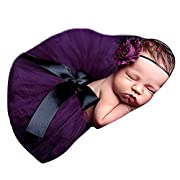 HugeStore Baby Newborn Infant Photo Photography Prop Costume Outfits Tutu Dress Skirt Suit Headband Set Purple