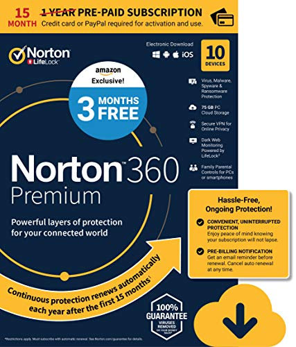 EXCLUSIVE Norton 360 Premium - Antivirus software for 10 Devices with Auto Renewal - 15 Month Subscription - 3 Months FREE - Includes VPN, PC Cloud Backup & Dark Web Monitoring powered by LifeLock - 2020 Ready [Download]