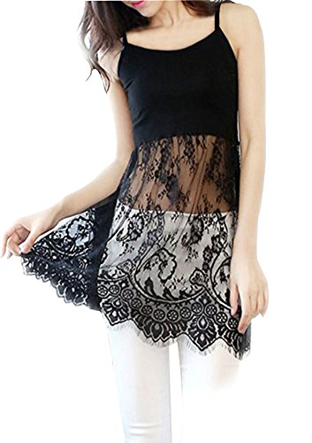 Ladies Long Lace Cami Shirt Top Extender Tunic (Black, Medium)