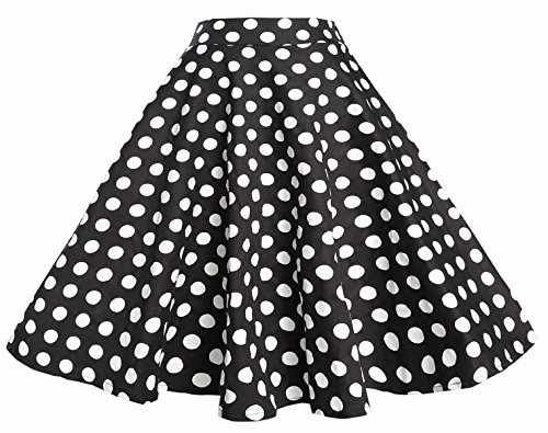BI.TENCON 1950s Black White Polka Dot High Waist Circle Swing Vintage Skirt ()
