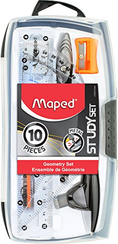 "Maped Study Geometry 10 Piece Set, includes: 2 Metal Study Compasses, 2 Triangles (45° & 30°/60°), 6"" Ruler, 4"" Protractor, Pencil for Compass, Pencil Sharpener, Eraser, Lead Refill (897010)"
