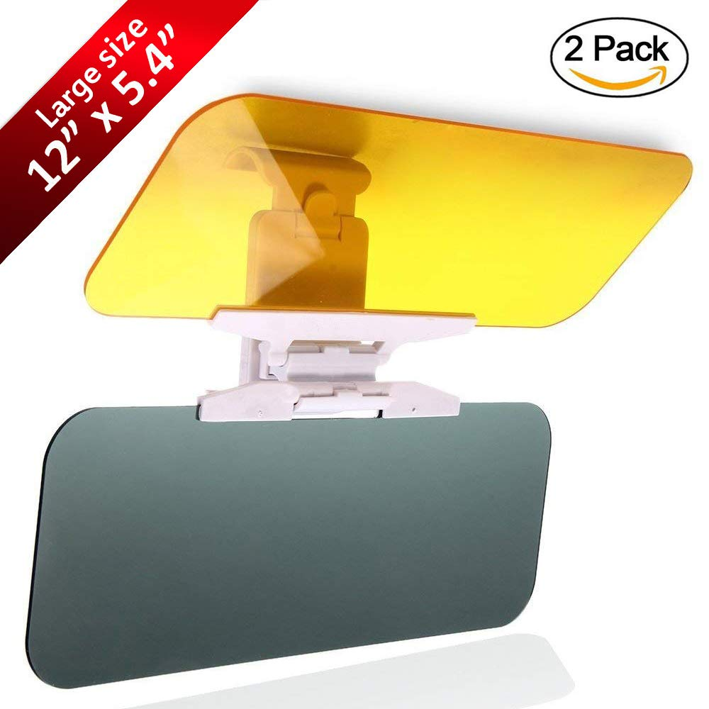 POWERIVER Upgrade Car Sun Visor Anti-Glare Visor 2 in 1 Day and Night Car Visor (Large Car Visor (2 Pack))