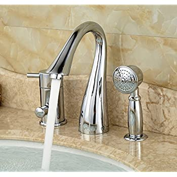 deck mount tub faucet with diverter. Rozin Deck Mount 3 Holes Bathtub Faucet Single Lever Mixer With Handheld  Shower Chrome Finish Moen T944BN Eva Two Handle High Arc Roman Tub And Hand