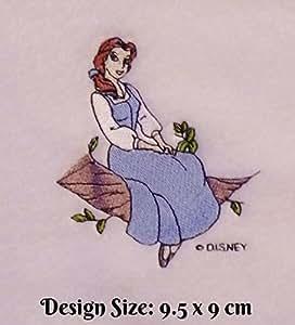 Embroidered by Hollydoodles.co.uk Belle - Toalla de baño de algodón Egipcio Bordado con diseño de la Bella y la Bestia (74): Amazon.es: Hogar