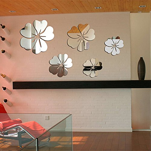 Yusylvia 5PCS Flower Mirror Flower Pattern Wall Sticker 3D Home Decoration Wall -