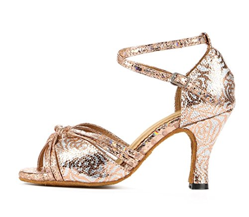 Tda Womens Peep Toe Nodo Floreale Sintetico Salsa Tango Da Ballo Latino Moderno Scarpe Da Sposa Danza Bronzo