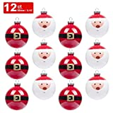 KI Store Christmas Balls Ornament 12ct Shatterproof 3.15-Inch Tree Ball Cute Santa Hand Painting Decorations for Xmas Trees, Parties, and Holiday