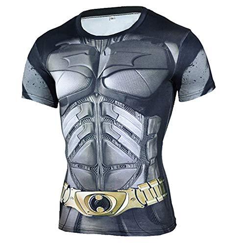 Short Sleeve Batman Compression T Shirt Quick Dry Workouts Tee Top L]()