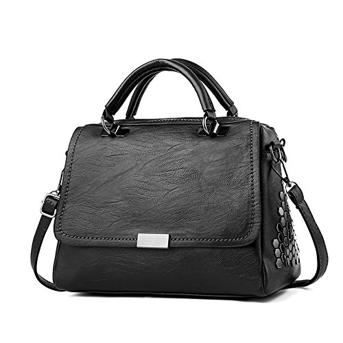 Mn&Sue Fashion Honeycomb Rivet Studded Women's Cross Body Satchel Messenger Bag Hobo Purse (Black)