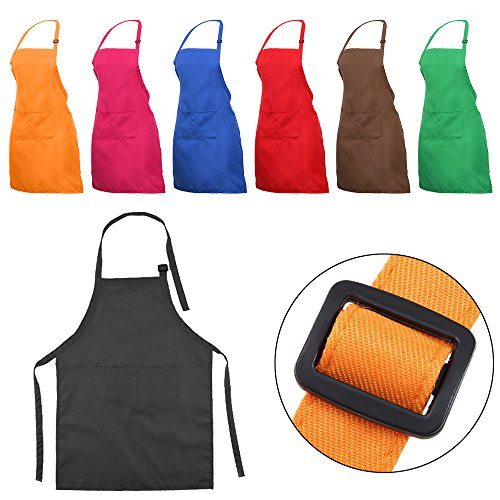 YUYIKES 7 Pcs Adjustable Children Chef Apron Set for Cooking Baking Painting Art Kids Chef Aprons with 2 Pocket