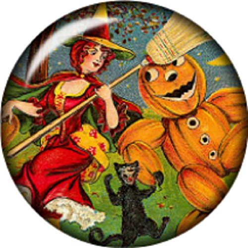 Snap button Pumpkin witch black cat 18mm charm chunk cabochon (Black Cabochon Barbell)