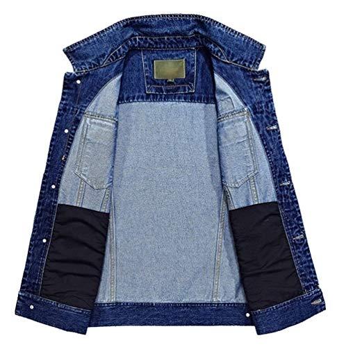 Laterali In Casual Da Giacche Uomo A Cappuccio Blu Cappotto Comode Bottoni Maniche Taglie Con Hx Fashion Tasca Jeans Abiti Lunghe Denim OZO1w