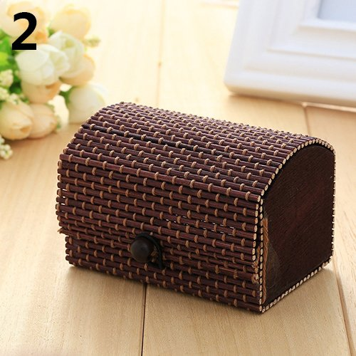 Holrea 1Pc Creative Bamboo Wooden Jewelry Case Vinrtage Jewelry Box Storage Organizer Ring Necklace Earrings Bracelet Boxes Holder Watch Box for Small Gadget, Loose Beads Dark Coffee from Holrea