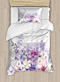 Ambesonne Lavender Duvet Cover Set Twin Size, Pastel Cornflowers Bridal Classic Design Gentle Floral Wedding Design Print, Decorative 2 Piece Bedding Set with 1 Pillow Sham, Violet Pink White
