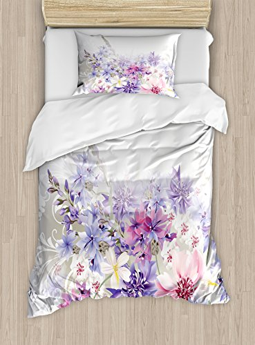 Ambesonne Lavender Duvet Cover Set Twin Size, Pastel Cornflowers Bridal Classic Design Gentle Floral Wedding Design Print, Decorative 2 Piece Bedding Set with 1 Pillow Sham, Violet Pink White by Ambesonne