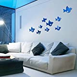 Ghaif Flying Bird mirror wall mount stereo posters on the wall in the living room sofa bedrooms are simply decorated in blue animal sticker