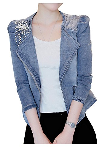 LifeShe Womens Beading Pearls Asymmetrical Moto Zip Up Denim Jackets Blazer (Blue, L)