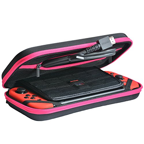 Nintendo Switch Carrying Case, Deluxe Protective Portable Travel Case Shell Pouch for Nintendo Switch Console & Accessories - Pink