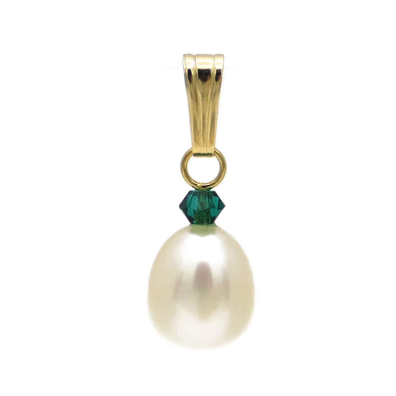 Perlen Anhänger 1/20 14k Gold mit Kristall smaragd grün und 8-9mm Süßwasser Zucht Perle weiß