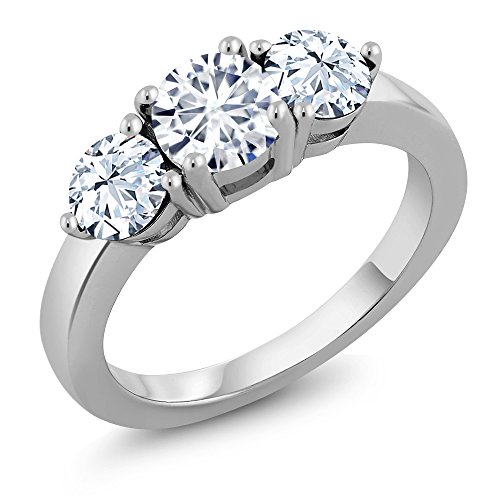 925 Sterling Silver 3-Stone Ring Timeless Brilliant Round (IJK) 0.80 Ct (DEW) Created Moissanite (Available in size 5, 6, 7, 8, 9)