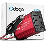Odoga 300W Car Power Inverter DC 12V to 220V AC Converter With Dual USB 4.8A Charging Ports ~ Charge Your Laptop, iPad, iPhone, Tablet, Consoles & More ~ Durable and Powerful - Red Aluminum Body