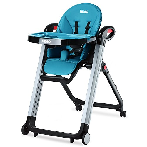 HEAO Foldable High Chair Reclining Height Adjustable 4 Wheels Blue