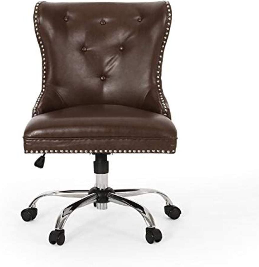 Christopher Knight Home Keith Contemporary Tufted Swivel Office Chair, Dark Brown + Chrome