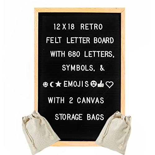12x18 Inch Premium Solid Oak Framed Retro Black Felt Changeable Letter Board - Includes Set of 680 Changeable Letters, Numbers, Emojis, and Punctuation. Includes 2 Canvas Storage Bags