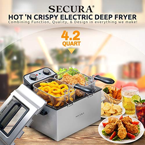 Secura Electric Deep Fryer 1800W Large Stainless Steel with with Triple Basket and Timer MSAF40DH, 4.0L/4.2Qt, Professional Grade by Secura (Image #2)