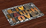 Ambesonne Live Laugh Love Place Mats Set of 4, Saying Promoting The Sacred Values of Human Life in Colorful a Pattern, Washable Fabric Placemats for Dining Room Kitchen Table Decor, Multicolor